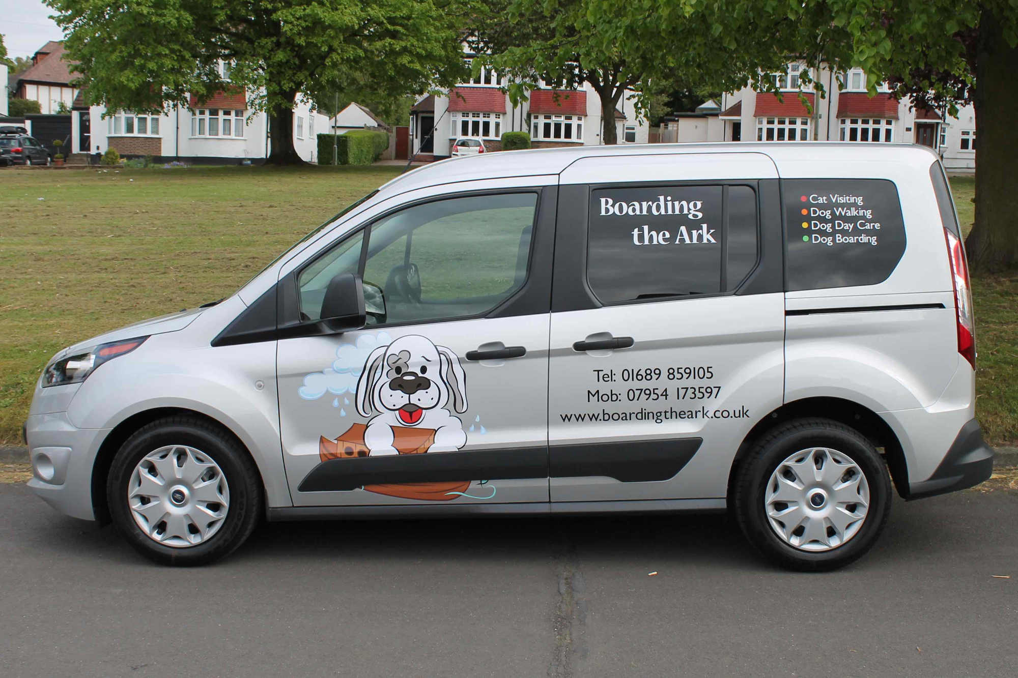 A side view of our friendly van